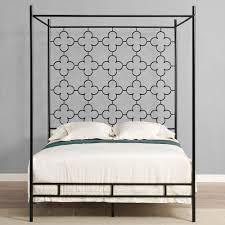 Mid Century Modern Queen Canopy Bed Quatrefoil Bedframe Black Metal ...