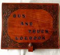 leather cover for bus truck log book celtic sleeping dragon border brown