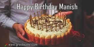 Happy Birthday Manish Cake Man Greet Name