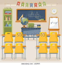 classroom table vector. back to school vector illustration. classroom with desk, chalkboard and chair. - stock table