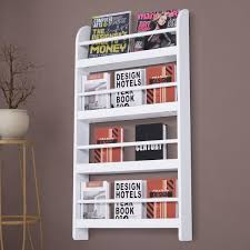 homcom mdf white wall mounted bookcase
