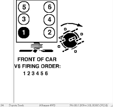 toyota 4 i have a 94 model toyota 4 runner 3vze v6 just changed here s a diagram for the firing order