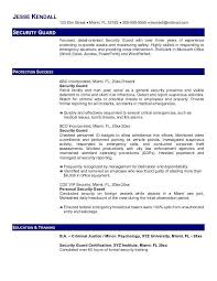 Security Job Resume Guard By Jesse Kendall Simple Nor