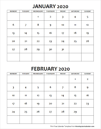 February 2020 Calendar Template Printable Jan Feb 2020 Calendar Monday Start Editable Two Months