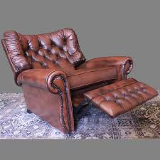 Poltrona reclinabile originale Chesterfield in pelle marrone : AnticSwiss