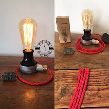 the barford bakelit red coloured cable table light vintage edison filament steampunk uk plug brass gland rustic cord e27 es