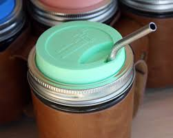 Mason Jar Silicone Drinking Lid With Stainless Steel Band For Mason Jars