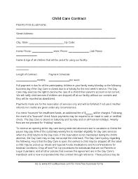 daycare contract template daycare contract template free
