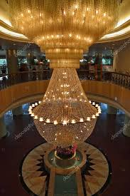 the huge magnificent crystal chandelier stock photo