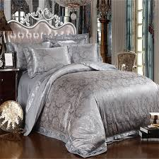 silver grey satin silk jacquard bedding set comforter quilt bedding set duvet cover bed sheet set king queen size bedclothes in bedding set from home