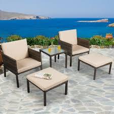 5pcs rattan patio furniture set chairs
