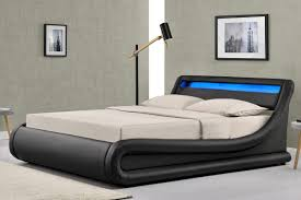 madrid ottoman storage led lights bed frame black faux leather single double