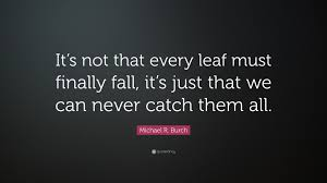 """What If I Fall Quote Enchanting Michael R Burch Quote """"It's Not That Every Leaf Must Finally Fall"""