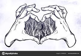 Dvě Ruce Srdce Znamení Lesní Noční Scenérie Stock Vektor Katja87