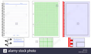 Illustration Of Blank Ring Bound Notebook Cover And Graph Paper