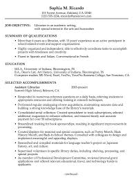 Librarian Resume Template Resume Example For An Academic Librarian Susan  Ireland Resumes Download