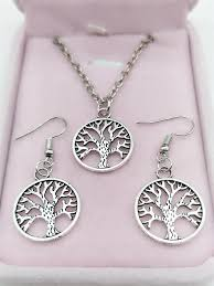 details about new1 set of retro silver tree pendant necklace earrings fashion jewelry