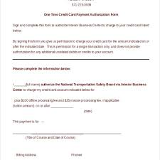 blank credit card authorization form template sle