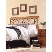 fashion bed group dunhill honey oak full wood headboard with sleigh style design and autumn brown