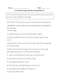 Circling Homophones Worksheet Part 2 Beginner | Englishlinx.com ...