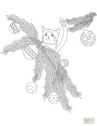 Small Picture Cat in Christmas Tree Branches coloring page Free Printable