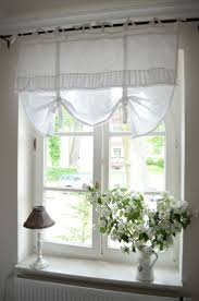 amazing cottage style windows with fancy window treatment of white curtain dry plus white wood material