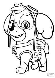 Skye Marshall And Rocky Coloring Page Within Skye Paw Patrol