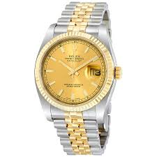 rolex watches jomashop rolex datejust champagne index dial jubilee bracelet two tone men s watch