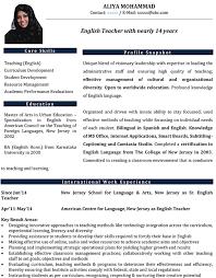 English Teacher Resume Sample Free Resume Templates 2018