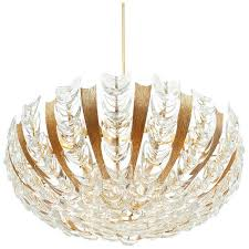 palwa large gold brass and glass chandelier lamp 1960 for