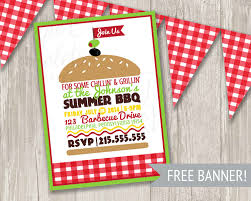 picnic invitation bbq invitation summer picnic invitation summer party burger invite gingham banner