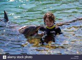 Abby Palmer, 12, from Leicester, swims with a dolphin during the  Dreamflight visit to Discovery Cove in Orlando, Florida Stock Photo - Alamy