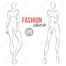 Body Template For Designing Clothes Illustration Of Womens Figure For Designers Of Clothes Outline
