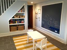 Amusing Kids Play Space Wall Mounted Chalkboard Dark Ceramic Tiled Floor  Under Stair Storage Basement Recessed Lighting Design White Yellow  Removable Rug ...