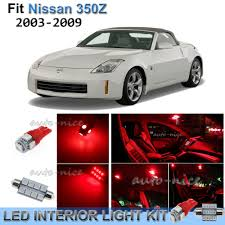 Details About For 2003 2009 Nissan 350z Brilliant Red Interior Led Lights Kit 7 Pieces