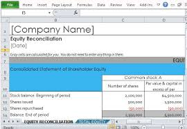 excel reconciliation template shareholder equity report template for excel