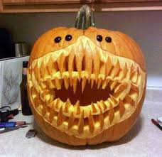Pumpkin Carving with Rows and Rows of Shark Teeth
