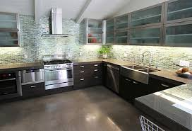 Modern Glass Kitchen Cabinets Stainless Steel Kitchen Cabinet Doors With Glass Monsterlune