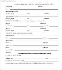 Employee Contact Form Template Emergency Information Templates For