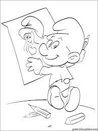 Smurfen Schildert Een Portret Van Smurfin Gratis Kleurplaten