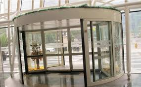 2 wing stainless steel frame automatic revolving door for hotel bank airport