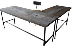 office wood table. Salvaged-wood-office-desk Office Wood Table