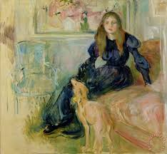 julie manet and her greyhound laerte painting berthe morisot julie manet and her greyhound laerte
