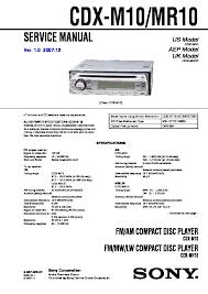 sony cdx m10 cdx mr10 service manual cdx m10 cdx mr10 sony car audio service manual repair manual