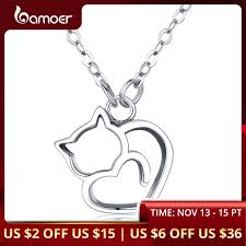 BAMOER <b>Authentic 100</b>% <b>925 Sterling</b> Silver Lovely Cat Exquisite ...