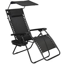 folding zero gravity recliner lounge chair with canopy shade in black for home furniture ideas