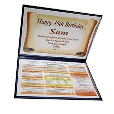 nwm gifts 40th birthday gift the day you were born keepsake