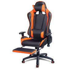 gaming chair for racing office computer pu leather reclining seat w footrest black
