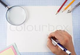 Hand Writing By Pen On Graph Grid Paper Stock Image