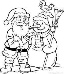 Snowman Santa Coloring Page Christmas Coloring Pages Of